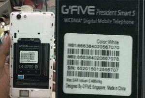 دانلود فایل فلش GFIVE President Smart 5 با پردازنده MT6572